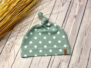 Knotenmütze Baby Sterne mint weiß KU 32-52, Babymütze Mädchen und Jungen, Frühchen Mütze