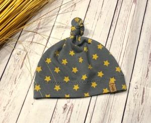 Knotenmütze Baby Sterne anthrazit senf KU 32-52, Babymütze Sterne, Frühchen Mütze - Handarbeit kaufen