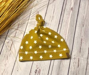 Knotenmütze Baby Sterne senf weiß KU 32-52, Babymütze Sterne, Frühchen Mütze - Handarbeit kaufen
