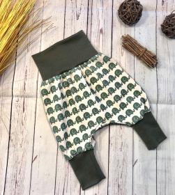 Pumphose Baby Elefant grün Gr.50/56, Bio-Jersey, Babyhose, Mitwachshose, Mädchen und Jungen - Handarbeit kaufen