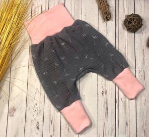 Pumphose Baby Musselin Gr. 50/56, Pusteblume anthrazit mit rosa, Sommerhose Mädchen, Babyhose
