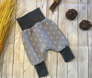 Pumphose Baby Musslin Gr. 50/56, Babyhose maritime Anker grau, Sommerhose, Unisex - Handarbeit kaufen