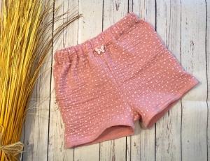 Kurze Musselinhose altrosa gepunktet Gr. 98, kurze Hose Mädchen, Sommerhose rosa, Knopf Schmetterling - Handarbeit kaufen
