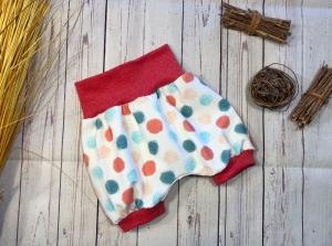 Kurze Pumphose Baby Gr. 68/74 Mädchen rot mint Petrol gepunktet, Bio-Jersey, Shorts, Sommerhose, kurze Hose - Handarbeit kaufen