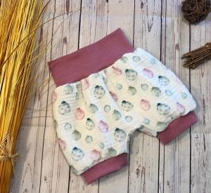 Kurze Pumphose Baby Gr. 68/74 Musselin Pastell Luftballons, kurze Hose Mädchen, Musselinhose, Shorts, Sommerhose - Handarbeit kaufen
