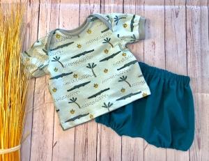 Set Baby T-Shirt + Bloomers Gr. 62 Kleines Krokodil mint mit petrol, Halstuch optional dazu erhältlich, Sommer Set, Shorts, Sommerhose, kurze Pumphose - Handarbeit kaufen