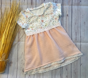 Sommerkleid Tunika Baby Gr. 80, Jersey Pastell Sommerblumen mit Musselin Spitze, Musselinkleid, Babykleid