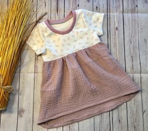 Sommerkleid Tunika Baby Gr. 80, Jersey Röschen mit Musselin altrosa, Musselinkleid, Babykleid