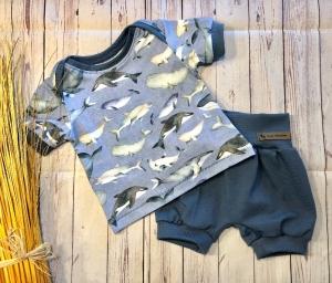 Set Baby kurze Pumphose und T-Shirt Gr. 68/74, maritim Wale blau, Set Jungen Sommer, bio-Jersey - Handarbeit kaufen
