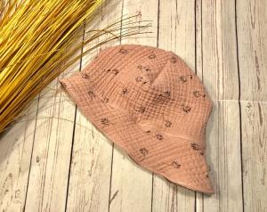 Sonnenhut Baby Musselin KU 44-47 altrosa Pusteblume, Sommerhut Mädchen Krempe Nackenschutz