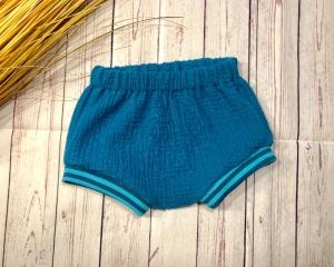 Bummle Musselin Baby Gr. 74/80 petrol Bio-Musselin, Sommerhose, Shorts, Windelhose (Kopie id: 100284707) (Kopie id: 100284709) - Handarbeit kaufen