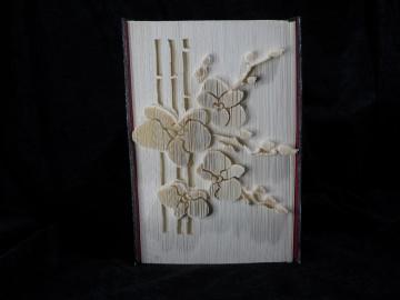 Zweig einer Orchidee gefaltet in ein Buch mit Alu - Cover