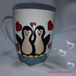 handbemalte Tasse Kaffeebecher Pinguine - Handarbeit kaufen