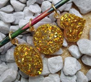 Maschenmarkierer Set aus Resin Goldglitter - Handarbeit kaufen