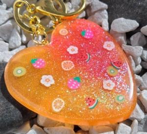 Schlüsselanhänger Taschenanhänger großes Herz orange - Handarbeit kaufen