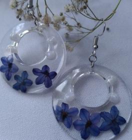 große transparente Ohrhänger mit echten Blüten  - Handarbeit kaufen