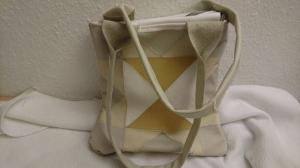 Ledertasche im Patchwork Style in weiß und beige Tönen  - Handarbeit kaufen