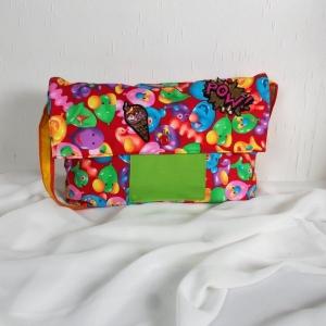Handgenähte Tasche aus Baumwoll Stoff in fröhlich bunten Farben, groß, Handtasche - Handarbeit kaufen