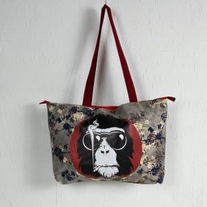 Handgenähte Tasche aus Canvas Stoff mit Affenmotiv, Handtasche - Handarbeit kaufen