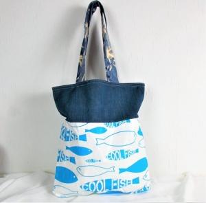 Handgenähte Tasche aus Baumwoll Stoff in blau weiß, groß, Handtasche - Handarbeit kaufen