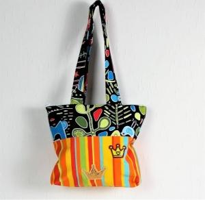 Handgenähte Tasche aus Baumwoll-Stoff in fröhlich bunten Farben, groß, Handtasche - Handarbeit kaufen