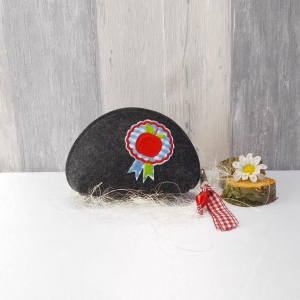Universaltäschchen, kleine Tasche, Mäppchen, grau aus Filz, roter Apfel - Handarbeit kaufen