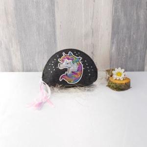 Universaltäschchen, kleine Tasche, Mäppchen, dunkelgrau aus Filz, Einhorn  - Handarbeit kaufen