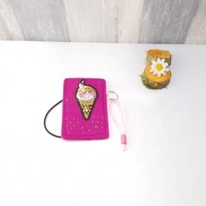 Universaltäschchen, kleine Tasche, Mäppchen, pink aus Filz, Eishörnchen - Handarbeit kaufen