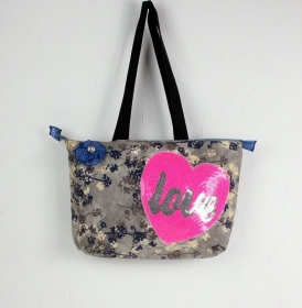 genähte Handtasche in grau blau Pailletten Motiv Herz, Shopper - Handarbeit kaufen