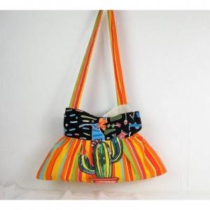 Handgenähte Handtasche in orange gelb gestreift, mit Paillettenmotiv Kaktus, Schultertasche, Shopper, Umhängetasche - Handarbeit kaufen