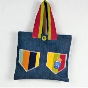 genähte Handtasche in blau bunt mit Motiv - Handarbeit kaufen