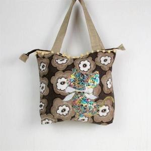 genähte Handtasche in braun beige mit Pailletten Motiv Katze, Shopper - Handarbeit kaufen