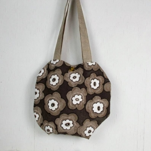 Handgenähte Handtasche in braun beige, Shopper - Handarbeit kaufen