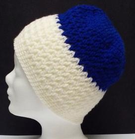 Mütze, modern, Handarbeit, blau weiß - Handarbeit kaufen