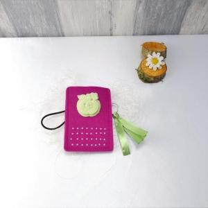 Universaltäschchen, kleine Tasche, Mäppchen, pink aus Filz, grüner Apfel - Handarbeit kaufen