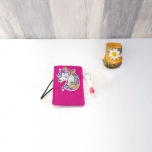Universaltäschchen, kleine Tasche, Mäppchen, pink aus Filz, Einhorn - Handarbeit kaufen