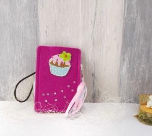 Universaltäschchen, kleine Tasche, Mäppchen, pink aus Filz, Cupcake - Handarbeit kaufen