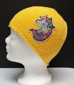 Mütze, modern, Handarbeit, gelb, mit Einhorn Patchy, Damenmütze, Mützen - Handarbeit kaufen