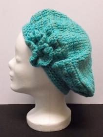 Baskenmütze, Mütze, türkisblau, Damenmütze, Mütze gehäkelt, Strickmütze, Mützen - Handarbeit kaufen