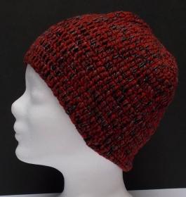 Mütze, Beanie Stil, Häkelmütze, Handarbeit, rot-grau, Damenmütze - Handarbeit kaufen