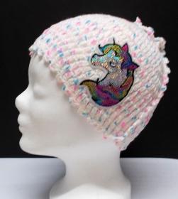 Mütze, modern, Handarbeit, weiß blau rosa, mit Einhorn Patchy, Damenmütze, Mützen - Handarbeit kaufen