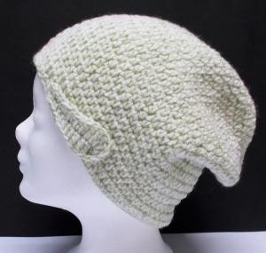 Mütze, groß, Beanie Stil, Häkelmütze, Handarbeit, beige-grün, - Handarbeit kaufen