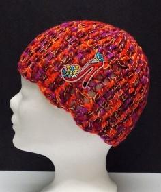 Mütze, modern, Handarbeit, rot Töne, mit High Heel Patchy, Damenmütze, Mützen - Handarbeit kaufen