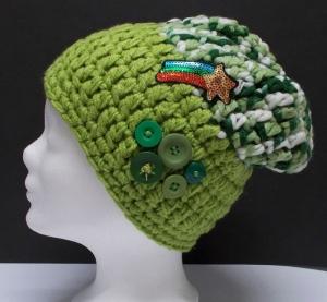 Mütze, modern, Handarbeit, grün Töne, Beanie Stil - Handarbeit kaufen