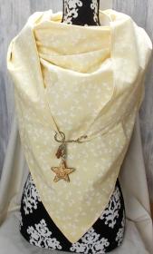 Dreieckstuch, XL Halstuch, Karabiner, zart gelb - Handarbeit kaufen