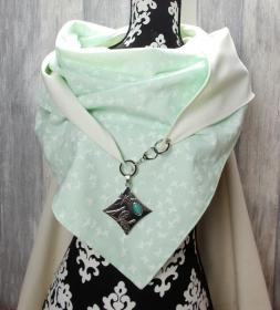Dreieckstuch, XL Halstuch, Schaltuch, zartgrün creme - Handarbeit kaufen