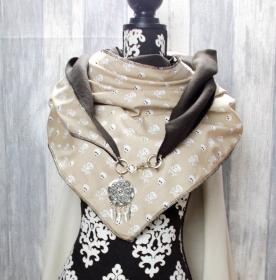 Dreieckstuch, XL Halstuch, Karabiner, beige, Totenkopf Muster - Handarbeit kaufen