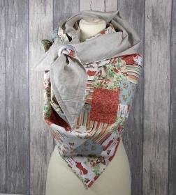 Dreieckstuch leicht, Schal,Tuch, Halstuch modern, gemustert, Baumwolltuch - Handarbeit kaufen
