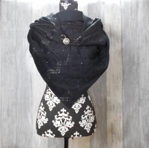 Dreieckstuch, Schal, Damenschal, Schwarz - Handarbeit kaufen