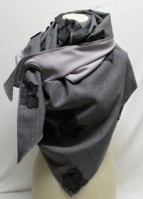 Dreieckstuch leicht, Tuch, Schal, Umschlagschal, grau blass lila - Handarbeit kaufen